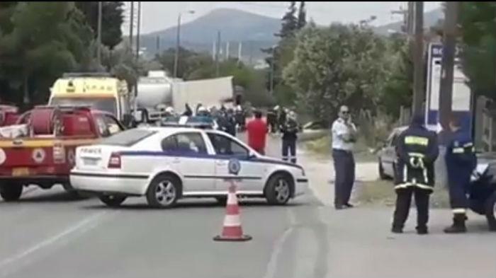 Βίντεο από το τροχαίο με βυτιοφόρο και το φορτηγό.