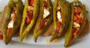 Γεμιστές πιπεριές με φέτα και ντομάτα! Ένας εύκολος μεζές![vid]