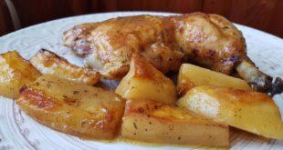 Κοτόπουλο με πατάτες στο φούρνο! Ζουμερό και τραγανό! [Βίντεο]
